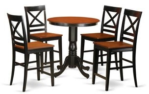 East West Furniture Solid Wood 5-piece Counter-height Pub Set