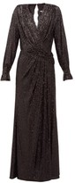 Jonathan Simkhai Sequin-embroidered Draped V-neck Gown - Womens - Black