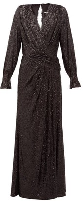 Jonathan Simkhai Sequin-embroidered Draped V-neck Gown - Womens - Black