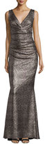 Talbot Runhof Bossa Gilded V-Neck Ruched Gown, Gold