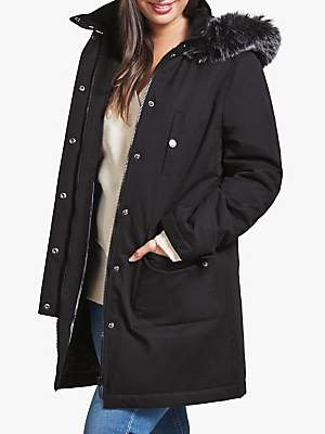 Four Seasons Caban Faux Fur Trim Coat