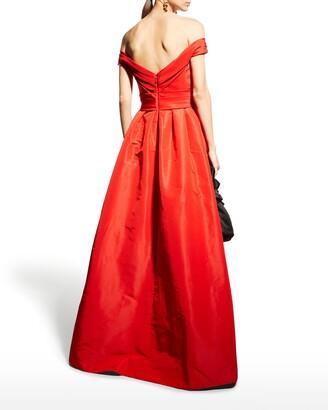 Monique Lhuillier Off-the-Shoulder Draped Bodice Gown