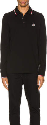 Moncler Maglia Long Sleeve Polo in Black | FWRD