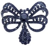 Kenneth Jay Lane Antique Gunmetal & Jet Crystal Bow Brooch