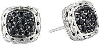 John Hardy Classic Chain Stud Earrings with Black Sapphire (Silver) Earring