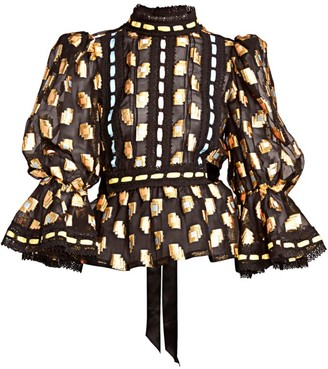 Marc Jacobs Runway Fil Coupe Victorian Puff-Sleeve Top