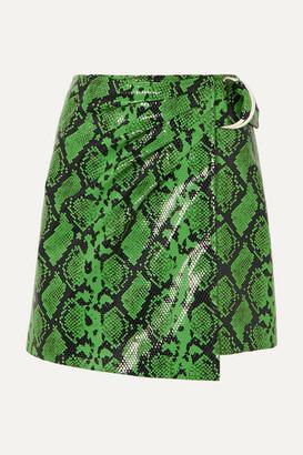 Stand Studio - + Pernille Teisbaek Kaya Snake-effect Faux Leather Wrap Mini Skirt - Green