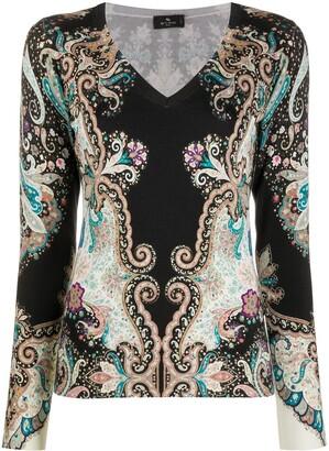 Etro bohemian-print V-nekc pullover
