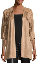 Neiman Marcus Faux-Suede Fringed Cardigan, Camel