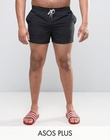 Asos Plus Swim Shorts In Black Short Length