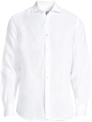 Canali Solid Linen Sport Shirt