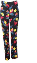 Diane von Furstenberg Black Floral Multicolor Print Trousers