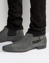 Asos Chelsea Boots In Grey Suede With Strap