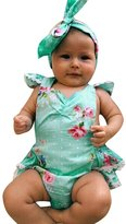 Charberry Newborn Baby Girl Floral Lace Backless Romper Headband Clothes Outfits (6-12 Months, )