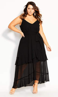 City Chic Mirage Frills Maxi Dress - black