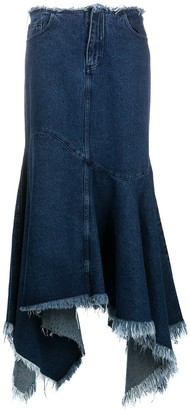 Marques Almeida Long Asymmetric Denim Skirt