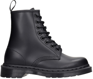 Dr. Martens 1460 Mono Combat Boots In Black Leather