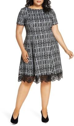 Donna Ricco Plaid Lace Hem Dress