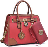 Dasein Red & Brown Patch-Accent Tote & Medallion Wallet Set