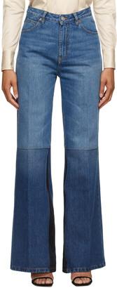 Victoria Beckham Blue Patchwork Flare Jeans