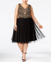 Adrianna Papell Plus Size Beaded Tulle A-Line Dress
