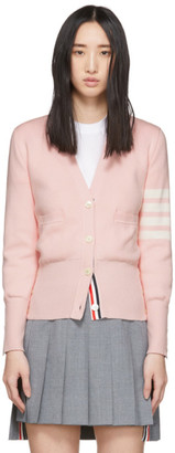 Thom Browne Pink Milano Stitch 4-Bar Cardigan