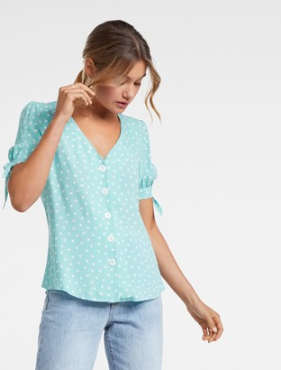 Forever New Agatha Button Tie Sleeve Top - Green Spot - 16
