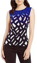 Calvin Klein Petites Ombre Geometric Print Matte Jersey Pleat Neck Shell