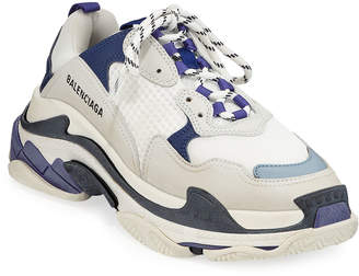Balenciaga Triple-Sole Tricolor Mesh & Leather Trainer Sneaker