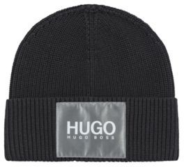HUGO BOSS Cotton-blend beanie hat with reflective logo badge