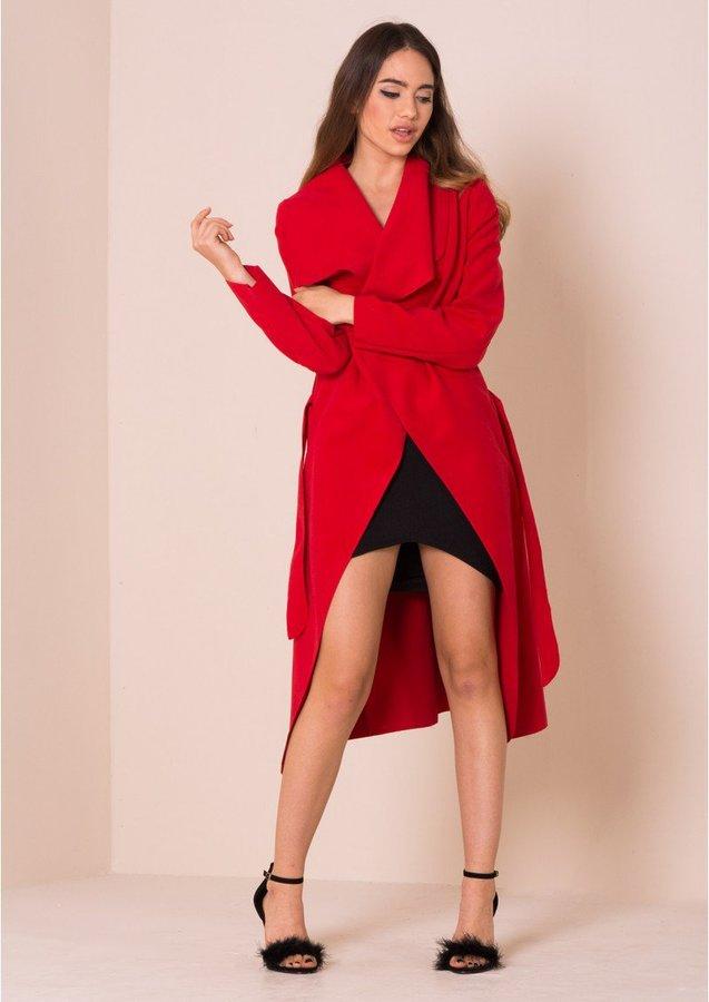 Missy Empire Shay Red Waterfall Drape Coat