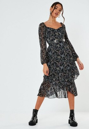 Missguided Petite Black Ditsy Print Milkmaid Midi Dress