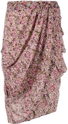 For Love & Lemons Floral Drape Skirt