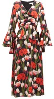 Borgo de Nor Serafina Tulip-print Silk-cloque Midi Dress - Womens - Black Multi