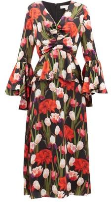 Borgo de Nor Serafina Tulip-print Silk-cloque Midi Dress - Black Multi