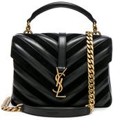 Saint Laurent Medium Leather & Suede Patchwork Monogramme College Bag