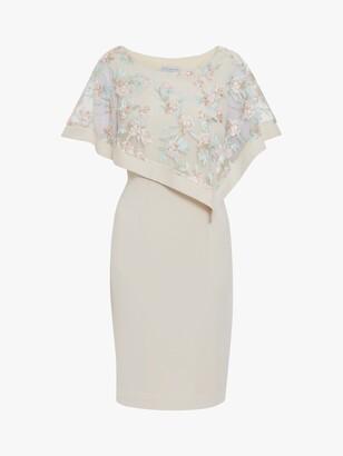 Gina Bacconi Halsey Embroidered Overlay Dress, Natural/Pink