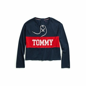 Tommy Hilfiger Women's Adaptive Seated Fit Icon Long Sleeve Crop Top T Shirt with Velcro