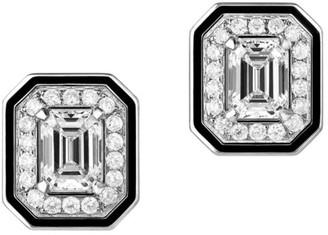 Boucheron Vendome Lisere 18K White Gold, Diamond & Black Lacquer Stud Earrings