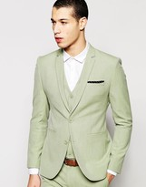 Asos Super Skinny Suit Jacket In Sage Green