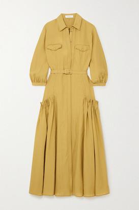 Gabriela Hearst Woodward Belted Gathered Linen Shirt Dress - Mustard