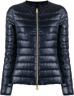 Herno Collarless High-Shine Quilted Jacket