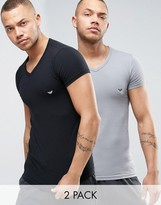 Emporio Armani 2 Pack Stretch Cotton V-neck T-shirt In Muscle Fit
