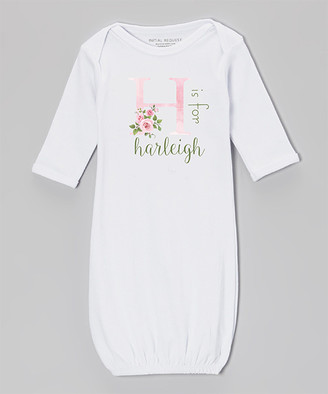 Initial Request Girls' Infant Gowns White - White Watercolor Rose Personalized Gown - Newborn & Infant