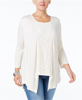 Style&Co. Style & Co. Plus Size Lace-Inset Handkerchief Hem Top, Only at Macy's