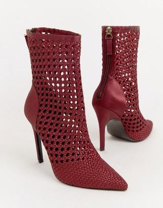 Asos Design DESIGN Edel woven satin boots-Red