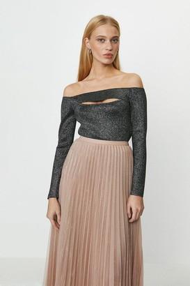 Coast Knitted Glitter Rib Bardot Top