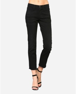 Flying Monkey Women's Mid Rise Cropped Raw Hem Straight Leg Jeans