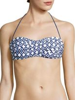 Shoshanna Geometric Ikat Twist Bandeau Bikini Top
