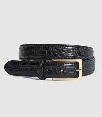 Reiss Moro - Patent Leather Croc Embossed Belt in Black